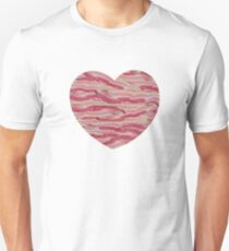 I Love Bacon - Bacon Strips Heart Unisex T-Shirt