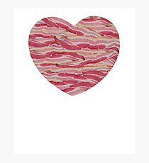 I Love Bacon - Bacon Strips Heart Photographic Print