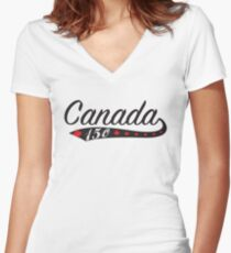 Canada Swoosh 150 Women's Fitted V-Neck T-Shirt