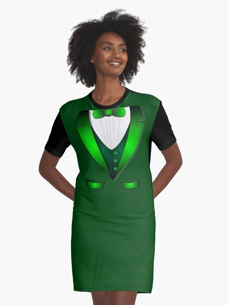 a7073d64b leprechaun suit st patricks day green Irish tuxedo Graphic T-Shirt Dress