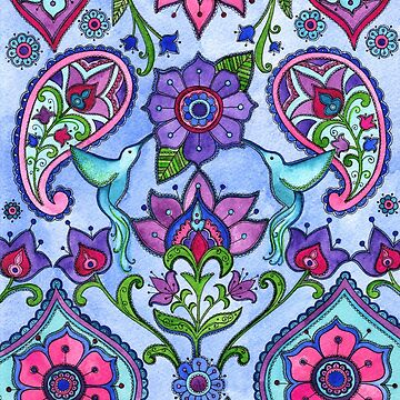 Hummingbird Paisley by SarahTravisArt