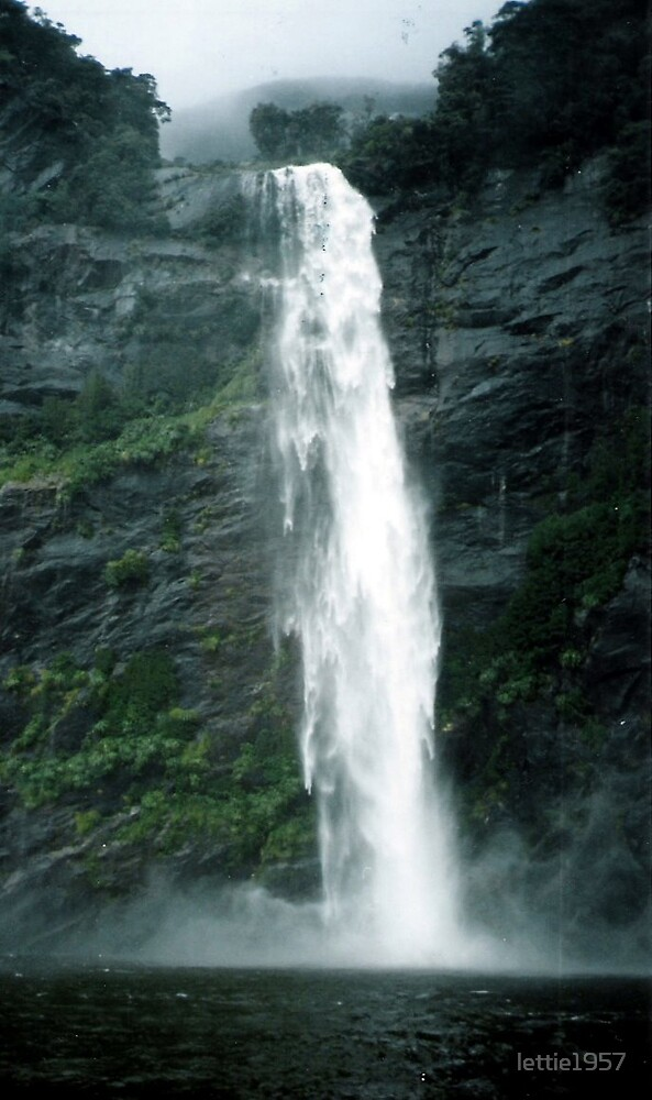 Waterfall on Milford Sound. by lettie1957