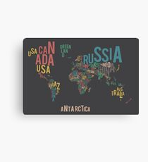 Typographic World Map Canvas Print