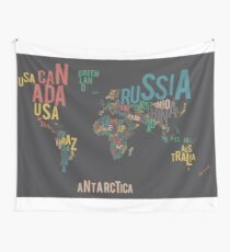 Typographic World Map Wall Tapestry