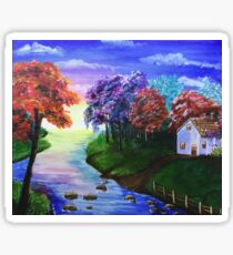 Secluded House by the River Sticker