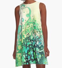 Visible Connections - Watercolor and Pen Art A-Line Dress