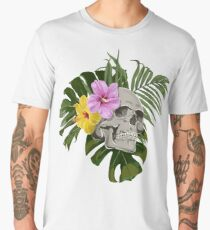 Skull With Exotic Flowers Pattern Men's Premium T-Shirt