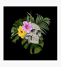 Skull With Exotic Flowers Pattern Photographic Print