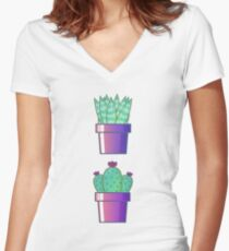 Succulents pattern Women's Fitted V-Neck T-Shirt