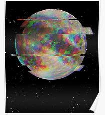 Glitched Moon Poster