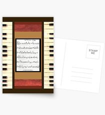Piano keys with sheet music by Kristie Hubler Postcards