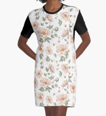 White Floral Graphic T-Shirt Dress