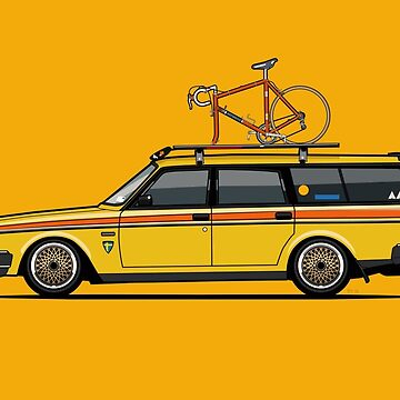 Yellow Volvo 245 Wagon With Roof Rack and Vintage Bicycle by monkeycom