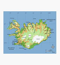ISLAND (Karte) Fotodruck