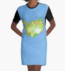 ISLAND (Karte) T-Shirt Kleid