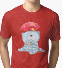 cute cat with umbrella Tri-blend T-Shirt