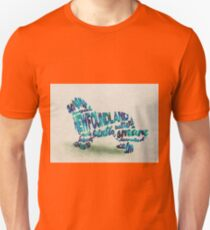 Newfoundland Dog Breed Typographic Watercolor Painting T-Shirt
