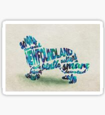 Newfoundland Dog Breed Typographic Watercolor Painting Sticker