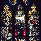 Stained glass Reformation window Cathedral Lausanne Switzerland 19840817 0020 by Fred Mitchell