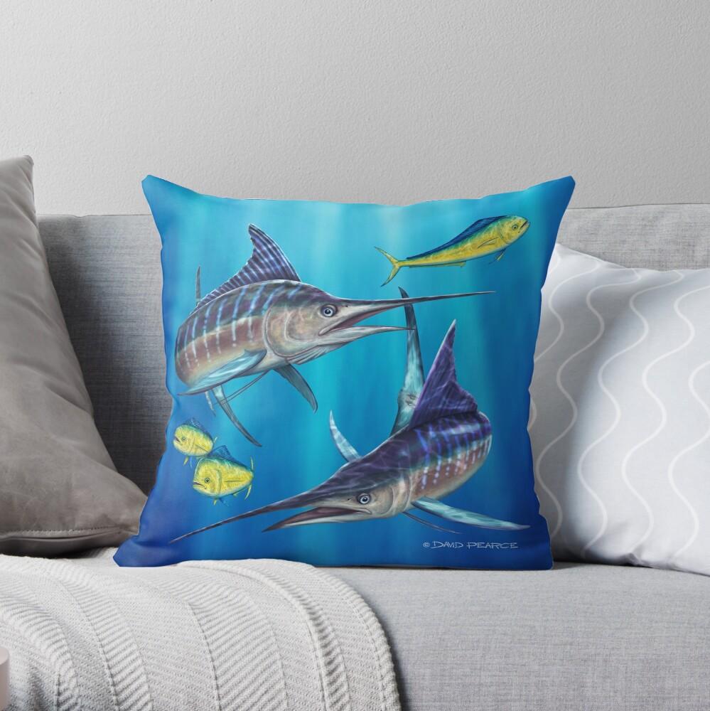 Doppelter Ärger - gestreifter Marlin Dekokissen