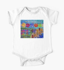 A Colorful World Village Beach Space Shuttle Planets Stars Boats Cows Homes Ocean Farms Flags  One Piece - Short Sleeve