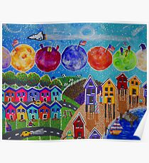 A Colorful World Village Beach Space Shuttle Planets Stars Boats Cows Homes Ocean Farms Flags  Poster