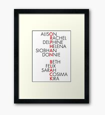 Orphan Black Typography Framed Print
