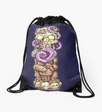 Tiki Skull Octopus Drawstring Bag