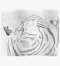 Stripey Cat At Joshua Tree Poster
