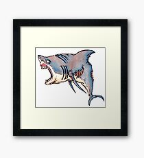 Zombie Great White Framed Print
