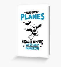 Tarjeta de felicitación Salto de los aviones: saltar de los autos es peligroso