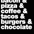 bacon, pizza, coffee, tacos, burgers, chocolate by candymoondesign