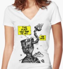 This place has gone to Hell Women's Fitted V-Neck T-Shirt