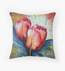 Tulips and butterfly Throw Pillow