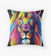 Neon Lion Throw Pillow