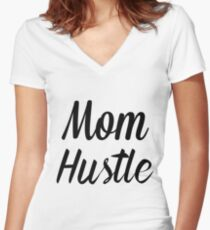 Mom Hustle Women's Fitted V-Neck T-Shirt