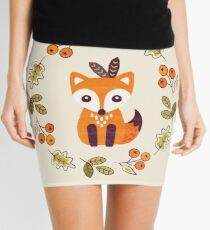 Little Fox with Autumn Berries Mini Skirt