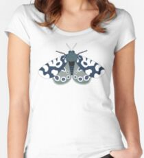 Mod Moths - Navy and Lilac Women's Fitted Scoop T-Shirt