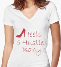 Heels & Hustle Baby Women's Fitted V-Neck T-Shirt
