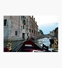 5 June 2017 Gondola ride on a canal in Venice, Italy Photographic Print