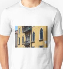 Yellow Venetian building facade with typical window decorations Unisex T-Shirt
