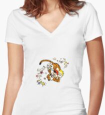 calvin and hobbes dancing Women's Fitted V-Neck T-Shirt