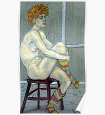 Woman in coloured socks Poster
