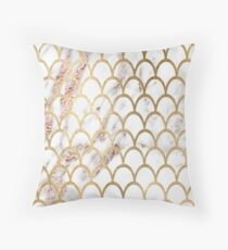 Rose gold marble - mermaid scales Throw Pillow