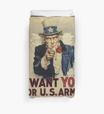 Poster, I Want You, April 1917, United States, by James Montgomery Flagg, United States Government Duvet Cover