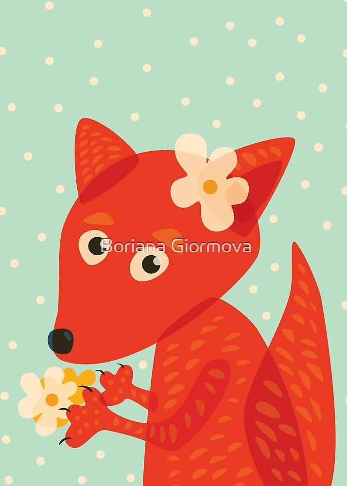 Cute Fox With Flowers by Boriana Giormova
