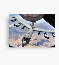 A B-52 Stratofortress receives fuel from a KC-135 Stratotanker over Afghanistan. Canvas Print