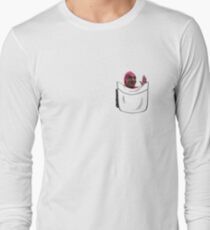 Pink Guy in a Pocket Long Sleeve T-Shirt