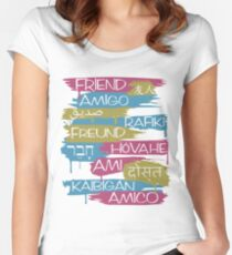 Friends From Other Ends - Pink, Blue, and Gold Theme Women's Fitted Scoop T-Shirt
