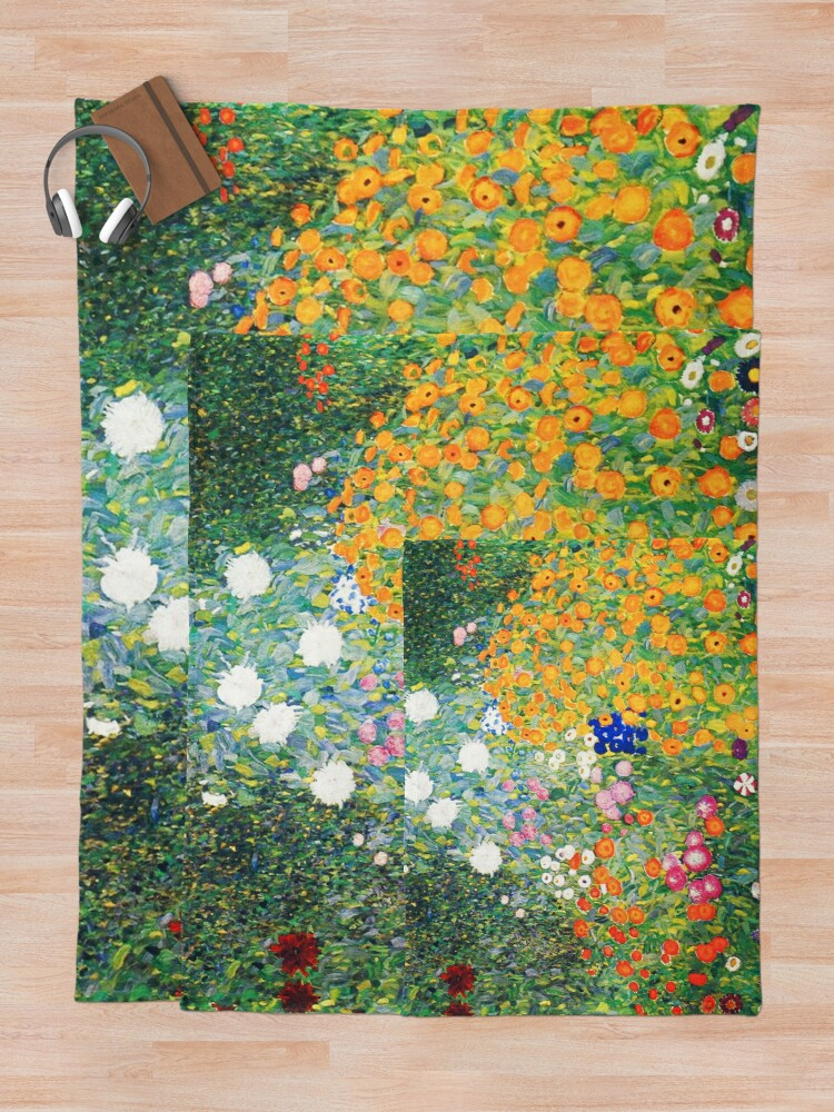 Alternate view of Flower Garden by Gustav Klimt Throw Blanket